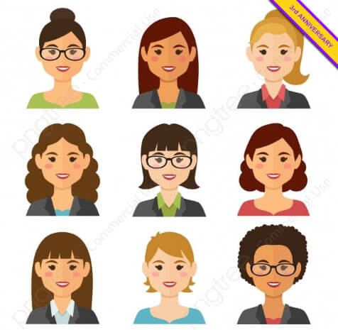 Business Women Flat Avatars Set