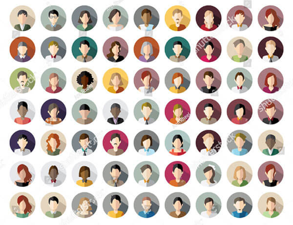 63 Avatars Women Men Heads Flat