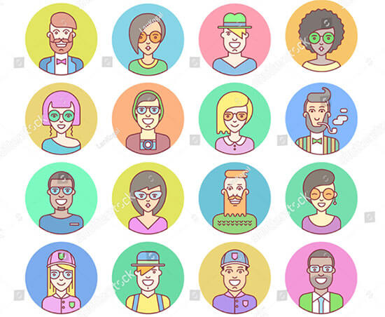 Creative Set Round Hipster Avatars