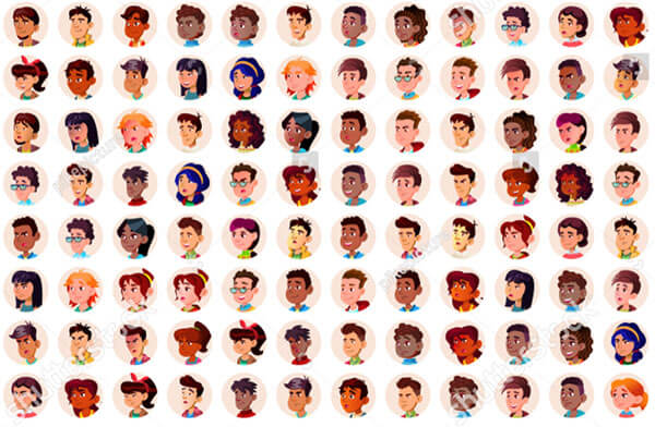 144 Teenager Avatars Vector