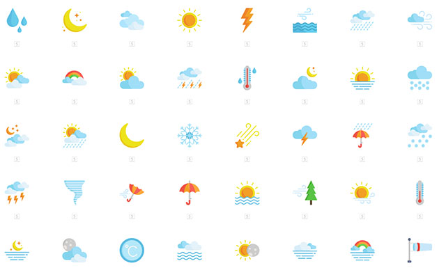 Flat Weather 50 Icons