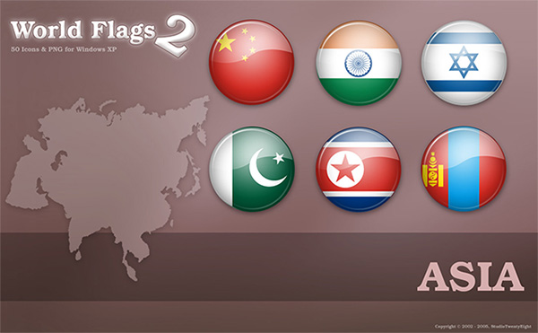 World Flags Icons of Asia