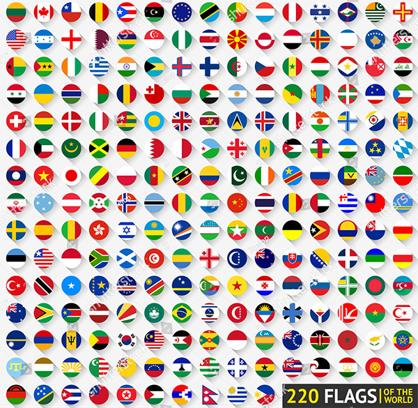 220 Flat Flags Circular Shape