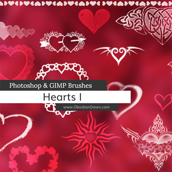 Hearts Photoshop and GIMP Brushes