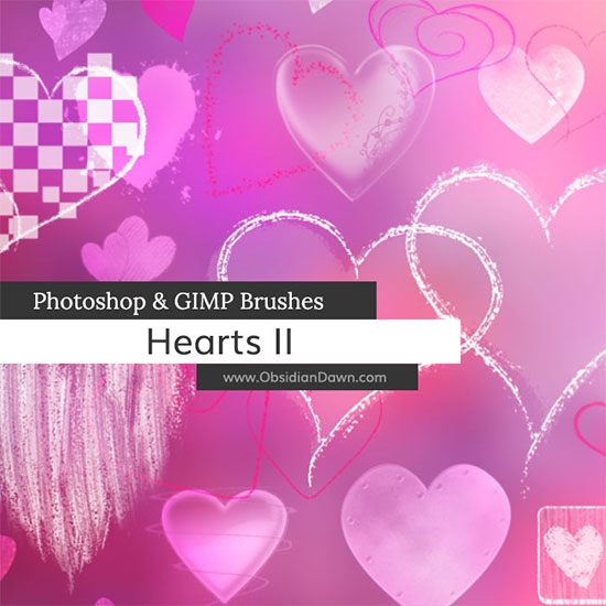 Hearts II Photoshop and GIMP Brushes