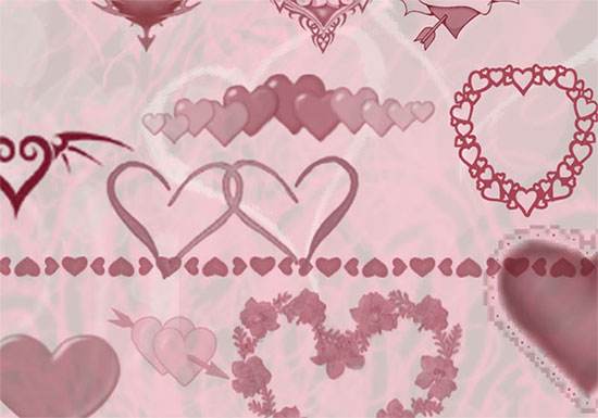 Various Hearts Brushes GIMP/Photoshop