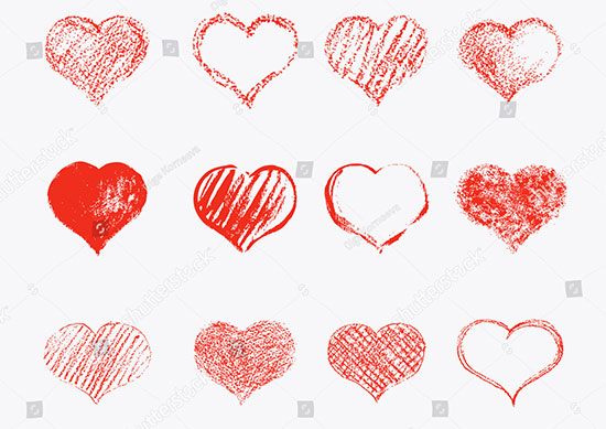 Set of Vector Texture Hearts