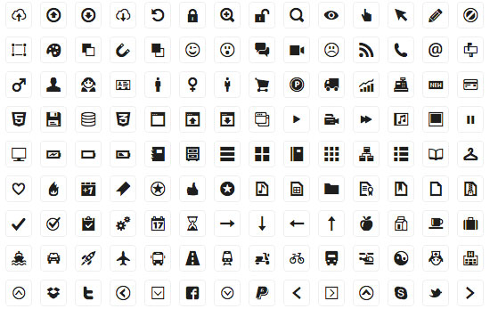 210 Icons for Web-design & Wireframes