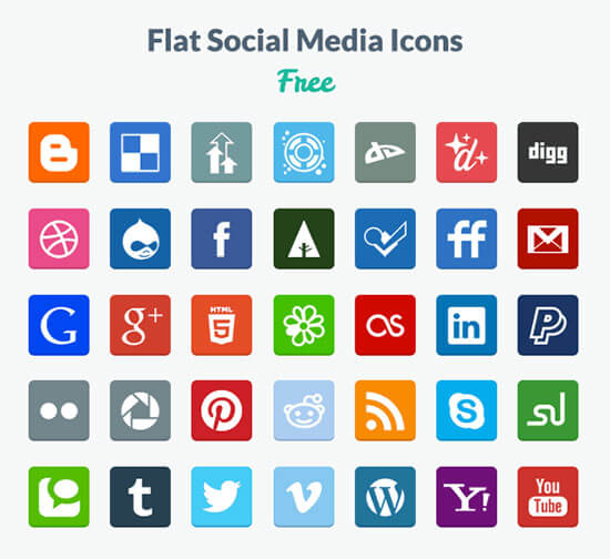 Free Flat Social PNG & PSD Icons
