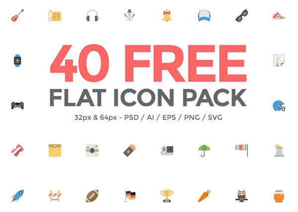 40 Flat Icon Pack by Paul Flavius Nechita