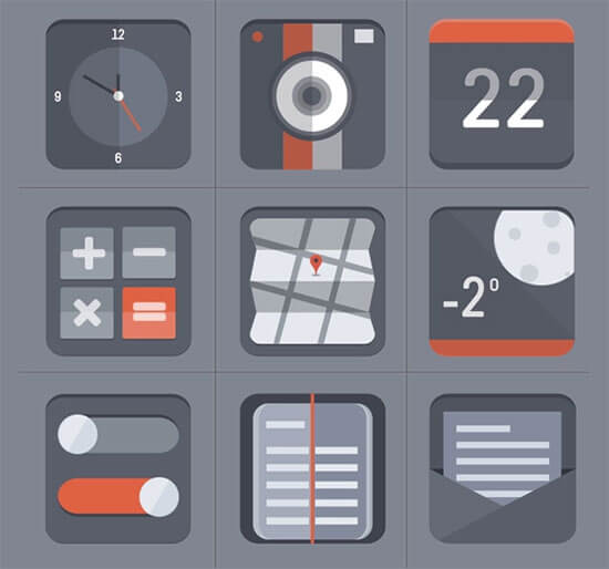 Free Flat Icon Set by Barry McCalvey