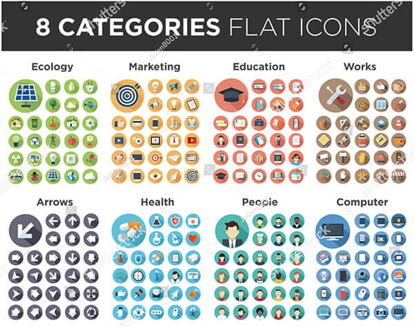 8 Categories Flat Icon
