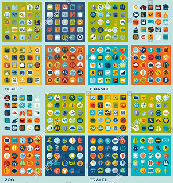 Set of Different Flat Icons