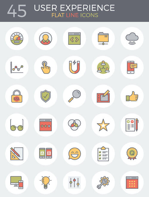 83 Flat Line UX And E-Commerce Icons For Free