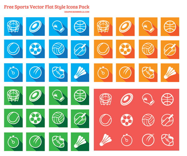 Free Vector Sports Icons Pack Flat Style
