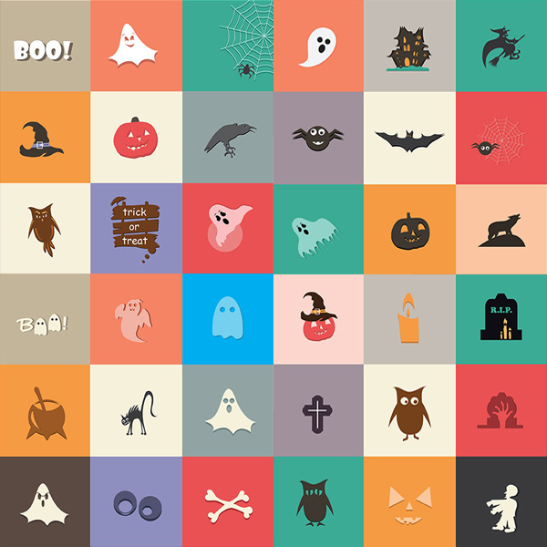 Halloween flat icons by Dana Rizescu