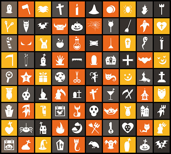 Free flat vector halloween icons
