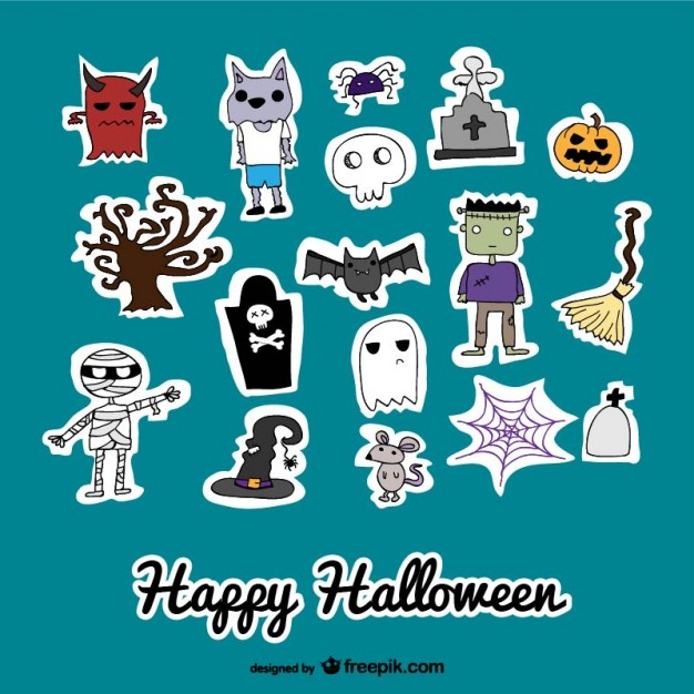 Set of cute icons stickers of halloween