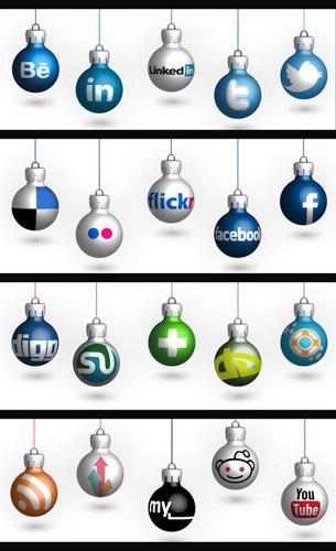 Christmas Social Network Icon set