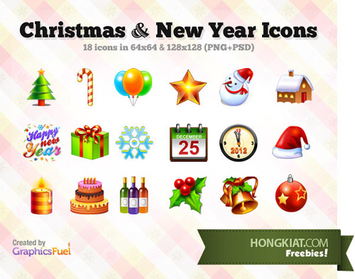 18 Christmas New Year Icons