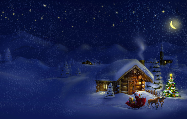 Winter Night With Snow