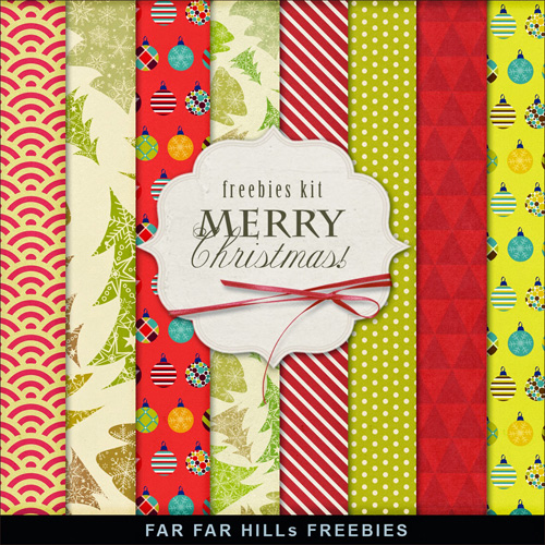 New Freebies Kit of Papers - Merry Christmas