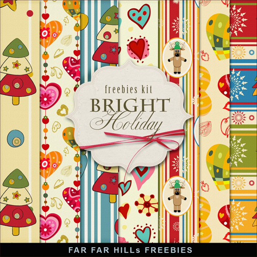 New Freebies Kit of Papers - Bright Holiday