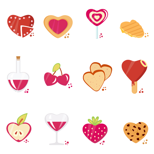 Set of Love theme icon mix vector 01