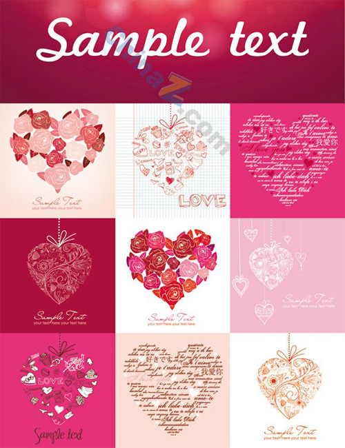 Romantic heart-shaped pattern background vector