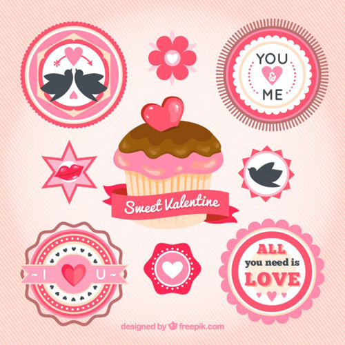 Valentine's cupcake and labels