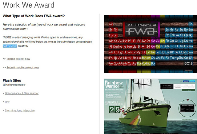 TheFWA (Favourite Website Awards)