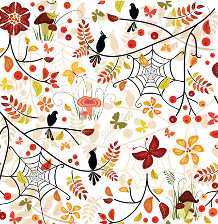 Autumn Floral Pattern Seamless Vector Background
