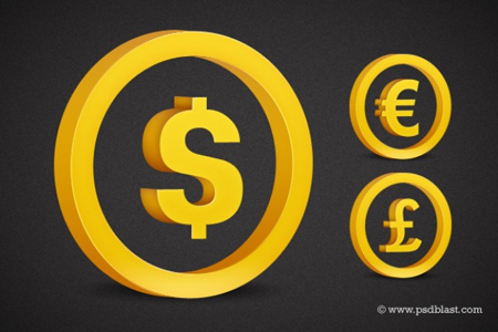 Golden currency symbol set