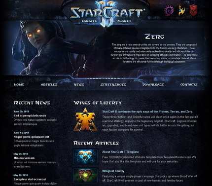 Free WordPress Starcraft Theme