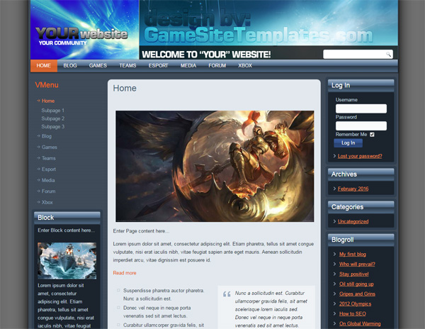 Gaming Joomla/WP Template