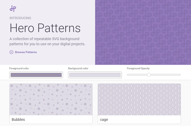 Hero Patterns - SVG фоны для сайта