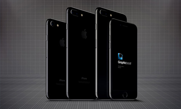 iPhone Jet Black (обычный и Plus) в Psd мокапе
