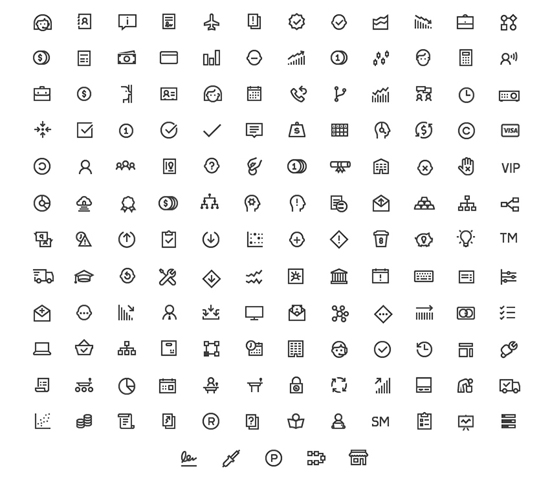 150 Free Business Line Icons