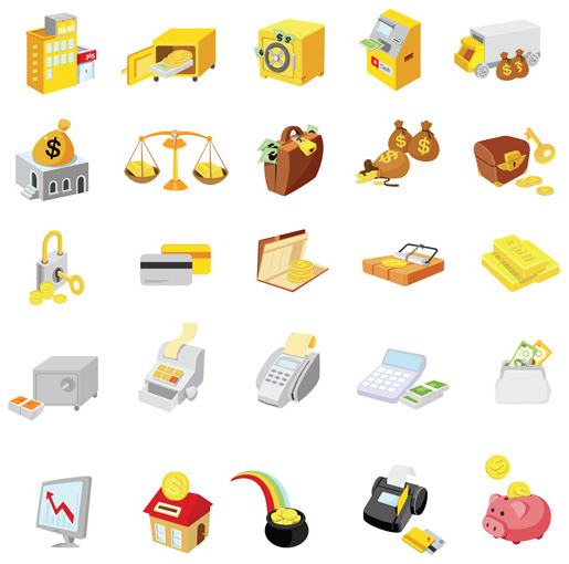 Bright Finance Icons Elements