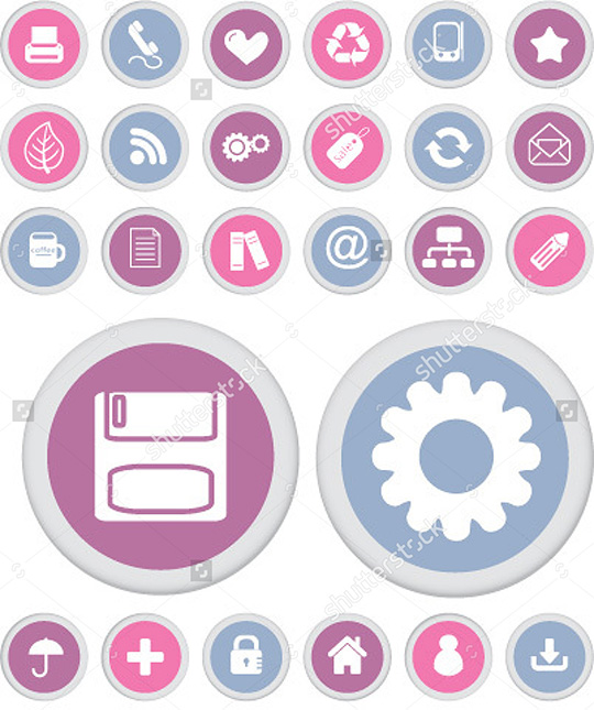 Cute Office Buttons Vector