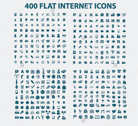 400 Flat Internet Iconset