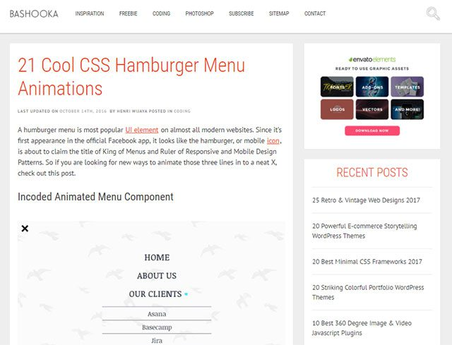 21 Cool CSS Hamburger Menu Animations