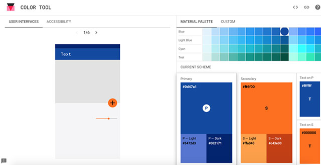 Инструмент Material Design Color Tool