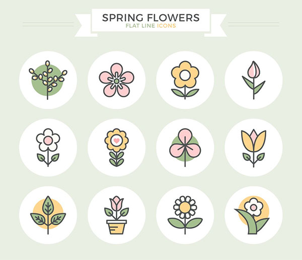 Spring Flowers Flat Line Icons