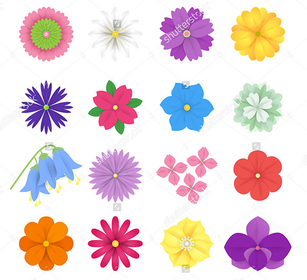Colorful Paper Flowers Illustration
