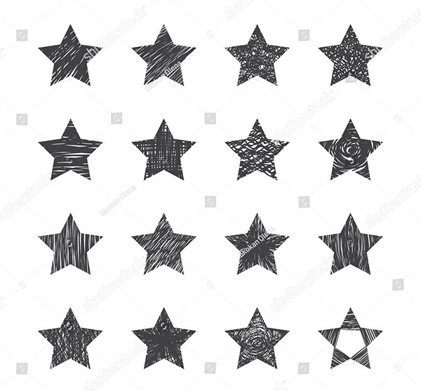 Set of HandDrawn Stars