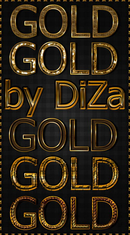 6 Gold Text Styles by DiZa