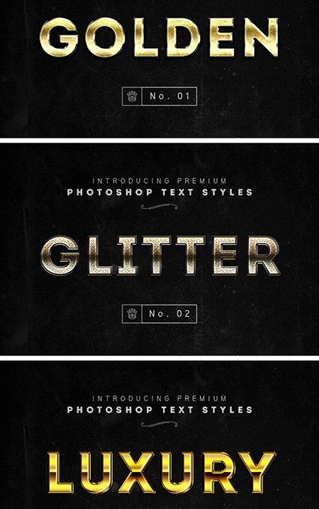 3 Photoshop Gold Text Styles