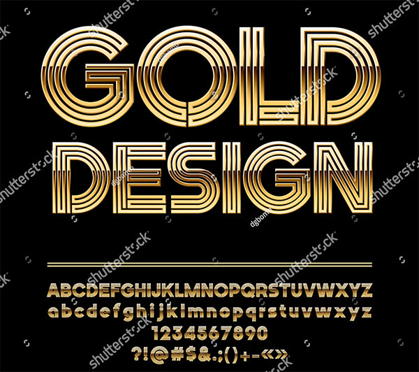 Vector Abstract Golden Artistic Design Alphabet