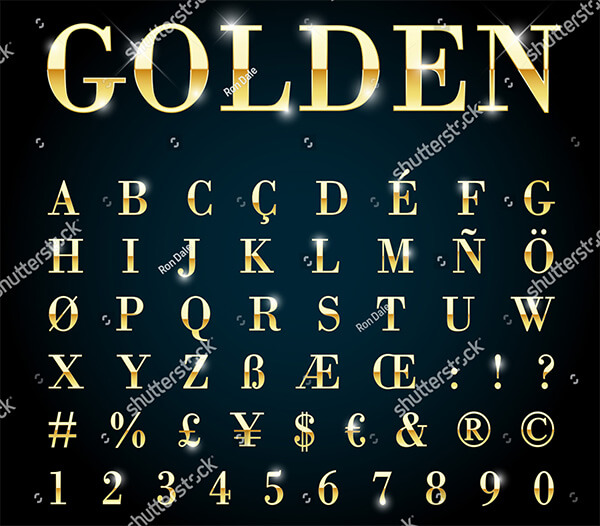 Vector Gold Font With Currency